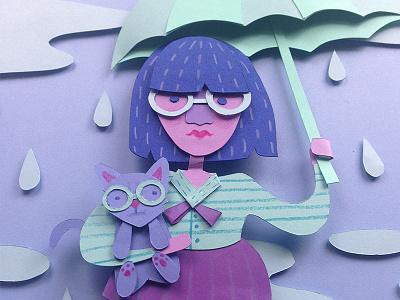 Rainy Days & Cats rain umbrella lady cats paper cut hand cut three dimensional 3d paper artist paper