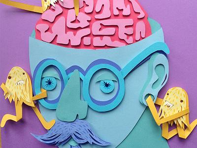 Weekend Feeling emotions drugs brain paper cut hand cut three dimensional 3d paper artist paper