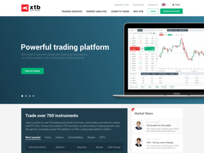 X-Trade Brokers home page trading ux design website web site