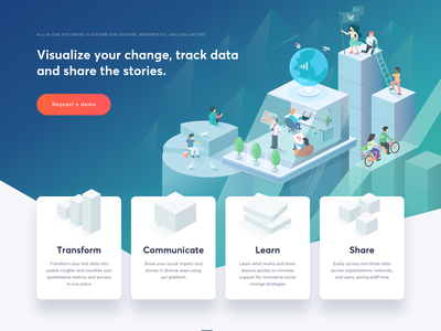 Impact Mapper - Landing Page gogoapps web social landing page header hero gradient colorful data homepage