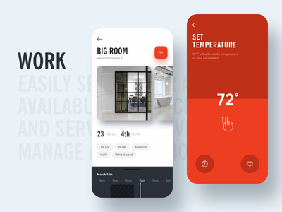 Co-Working App - Book & Control gogoapps mobile thermostat temperature reservation app ui ux clean coworking space coworking booking