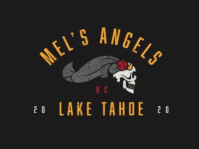 Mel's Angels buffalo ny stronghold studio branding illustration skeleton rose bride skull