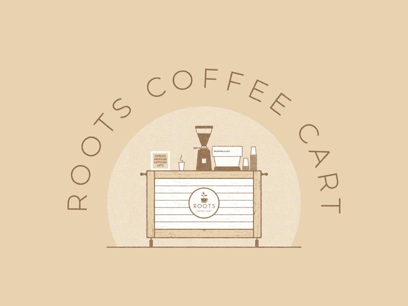 Roots Coffee Cart Illustration stronghold studio buffalo ny illustration branding foodtruck restaurant cafe food cart coffee
