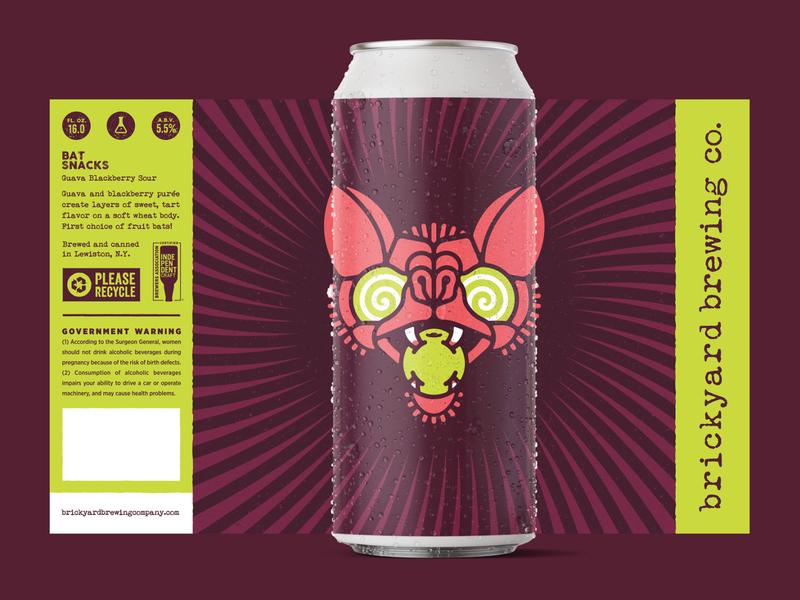 Bat Snacks label design label stronghold studio buffalo ny bat illustration craft brewery beer label packaging beer branding brewery beer