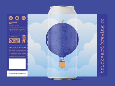 Blueberry Pils hot air balloon blueberry stronghold studio buffalo ny packaging label design label craft brewery brewery beer branding illustration