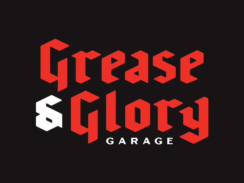 Grease & Glory stronghold studio buffalo ny automotive garage branding logo lettering typography type blackletter