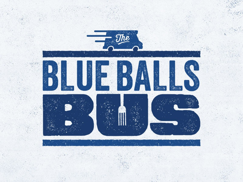 The Blue Balls Bus food bus texture stamp typography type food truck branding logo