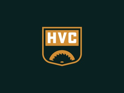 Hudson Valley Construction shield construction buffalo ny branding logo saw bridge badge