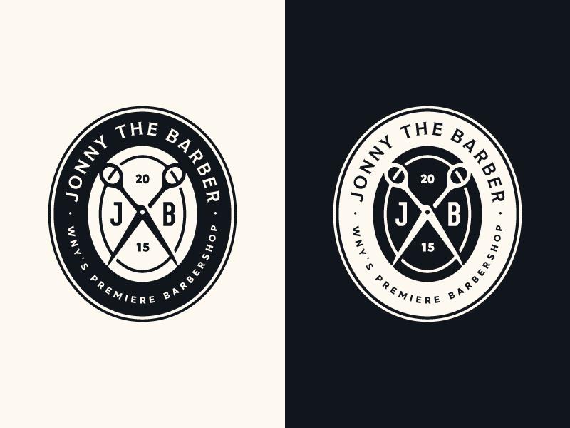 Jonny the Barber II barber logo branding stronghold studio buffalo ny barbershop barber badge