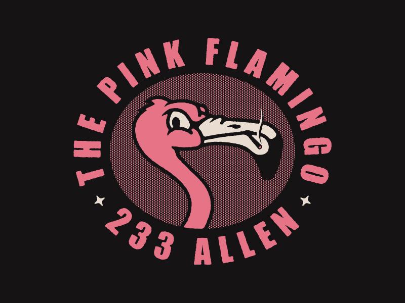 The Pink Flamingo buffalo made co bmco dive bar bar branding pink logo mascot flamingo animal bird buffalo ny