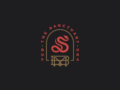 The Sanctuary II monogram snake buffalo ny bmco apparel branding bar moon illustration pinup girl pinup devil