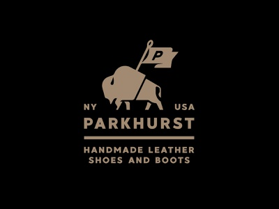 Parkhurst Logo animal bison handmade shoes boots leather goods leather parkhurst stronghold studio buffalo ny identity logo branding