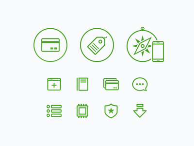 Green glyphs card tag browser mobile app chat list processor shield arrow