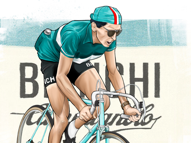 Fausto Coppi Portrait by James McLean on Dribbble