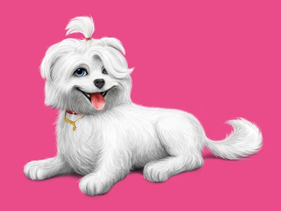 Casey the dog design barking fur dog illustration
