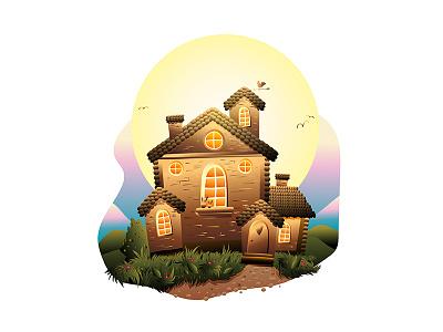 Fairytale house vector illustration druid design character cartoon