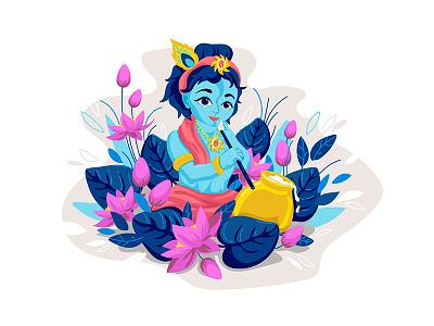 Little Lord Krishna. Happy Janmashtami surfacepro illustration celebrate india janmashtami happy krishna lord little