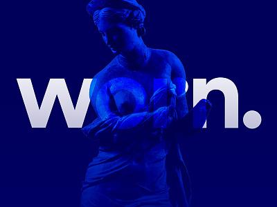 Worn: fashion logo fashion identity minimalism formal design klein blue vector logo