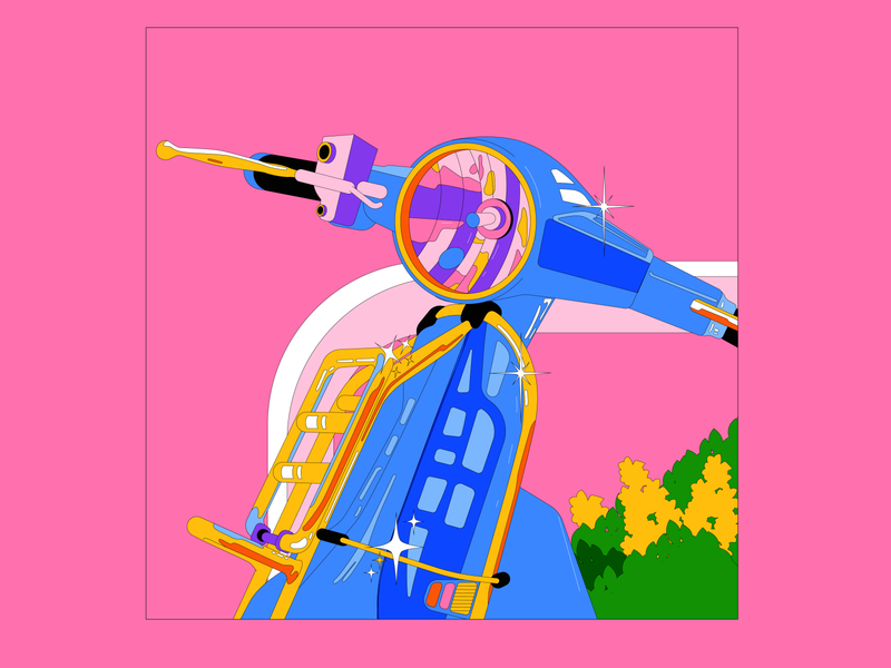 Glitter vector illustration shinning vespa design graphic