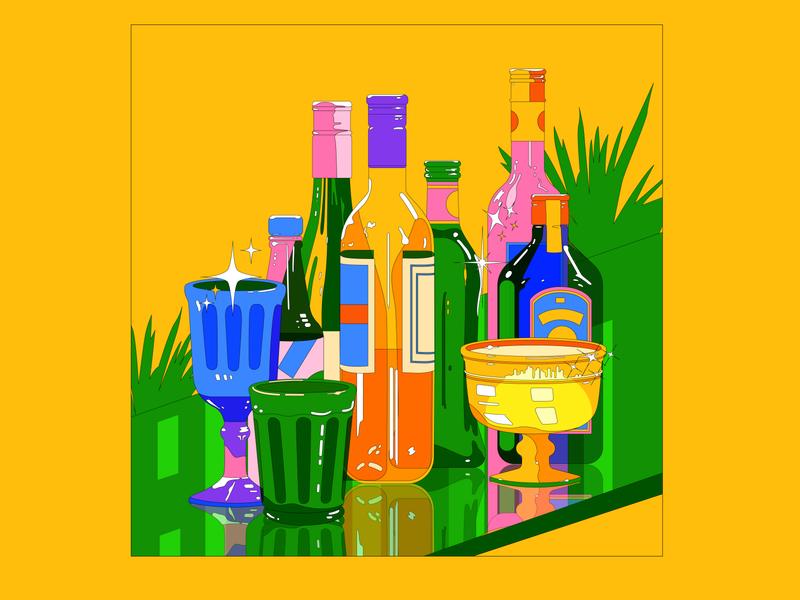 Glitter illustration design graphic bar glass wine bottles