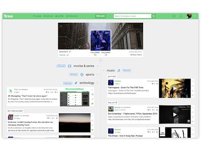 A user profile on Tree web ux ui