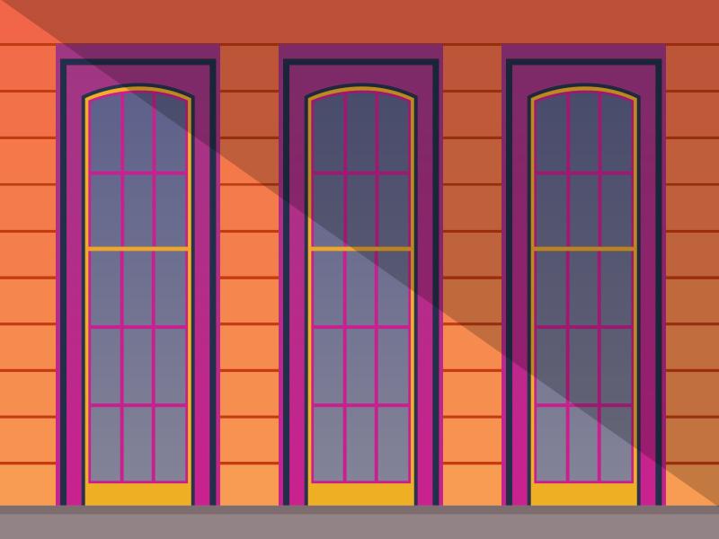 The Golden Hour window nola vector flat light summer beachy illustration color