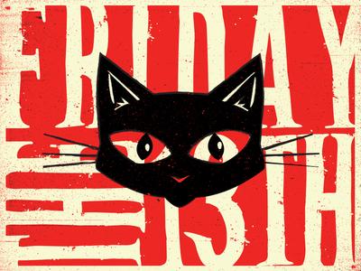 Meow.  tgif bloody illustration texture type blackcat thirteenth friday