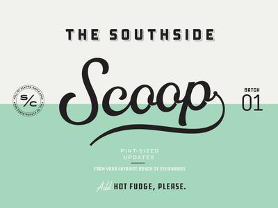 The Southside Scoop script lettering branding chattanooga icecream scoop