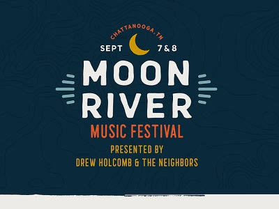 Moon River Music Festival topography texture typography identity logo branding chattanooga music festival moon