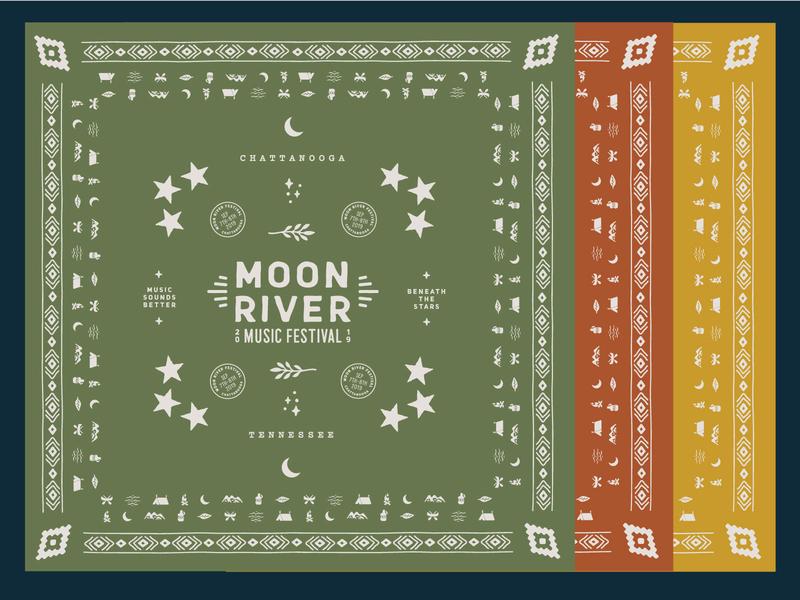 Moon River bandanas river moon chattanooga typography illustration iconography pattern bandana
