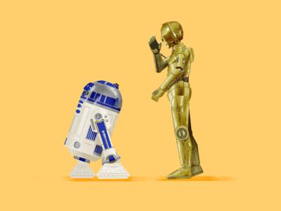 R2-D2 & C-3PO star wars starwars procreate illustration fanart digital character c-3po r2-d2