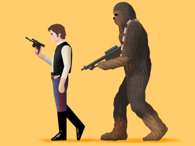 Han Solo & Chewbacca star wars starwars procreate illustration fanart digital character chewbacca han solo
