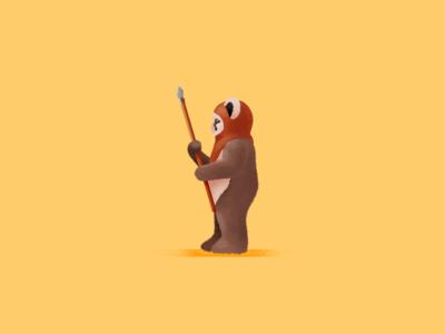 Ewok character procreate star wars starwars illustration digital farnart ewok