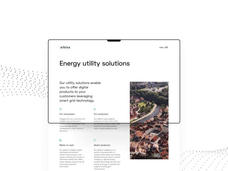 Elblox energy utility meter power smart grid minimal website ux ui clean green marketplace b2b p2p