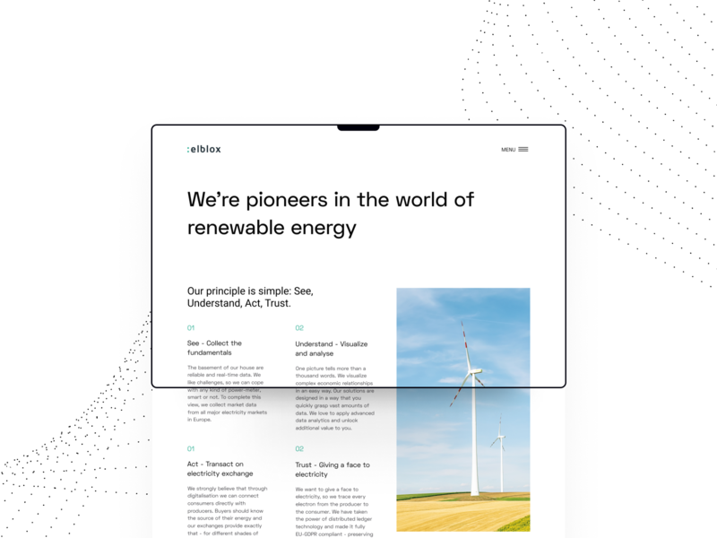 Elblox About us energy renewable principles hiring about us minimal website ux ui clean green marketplace b2b p2p