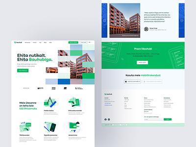 Build Smart. Build with Bauhub. build platform software icons testimonials estate real landing vector design site construction homepage ux ui web