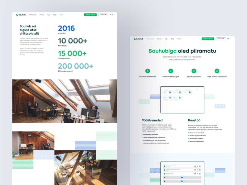 Build Smart. Build with Bauhub. minimal landing build construcion clean vector office features about homepage website design ux ui web