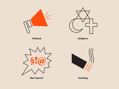 Limitations of SMS marketing vector design marketing content smoking speech hate relgious political icons set icon