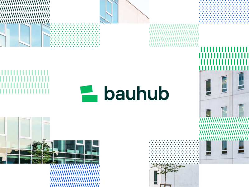 Build smart with Bauhub design branding software digital construction green logomark logotype visual brand logo identity