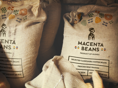 Natural and earthy, yet still modern design identity clean guinea african beans coffee brand minimal simple rough jute canvas print stamps mockup transport packaging bag branding
