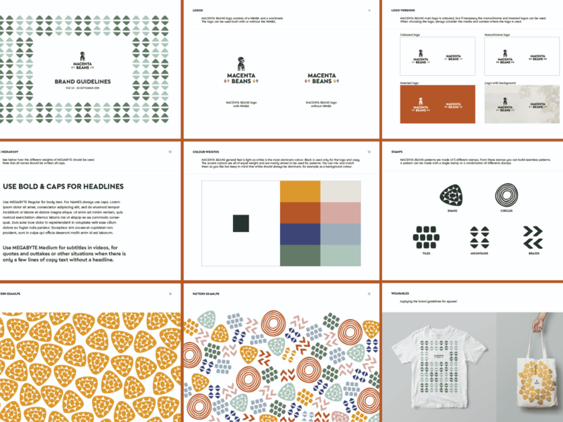 Pages of our guidelines rules rule guide book swag merch versions logo typography colour colors pattern design identity branding brandbook visual identity guidelines brand