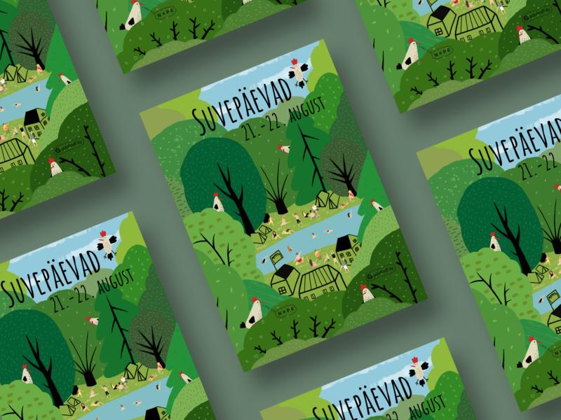 Summerdays vector branding summer birds green nature illustration print poster