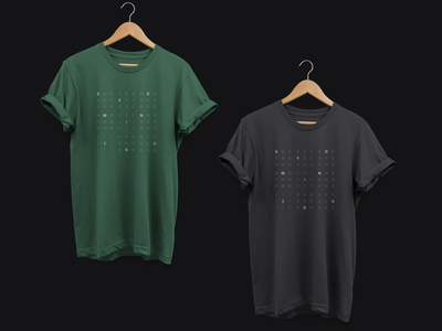 Geomining Swag brandnew black gray green colours branding minimal design illustration grid typography custom geomining t-shirt swag