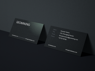 Geomining Business Cards darkmode brand typography clean branding design minimal handout contact card businesscard
