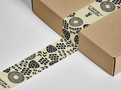 Macenta Beans Packaging Tape rebrand robusta coffee monochrome native africa macenta guinea pattern illustration packaging tape branding