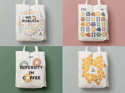 Macenta Beans, Tote designs for Crowd Funding Campaign palette africa macenta robusta coffee pattern colours colourful rebrand branding swag bag tote