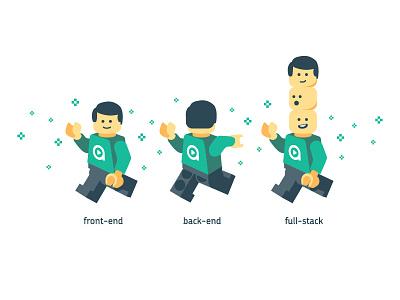 Dev T-shirt illustration shirt t-shirt crew developers developer lego full-stack back-end front-end