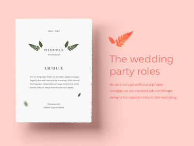 Wedding Role Certificates poster party branding stationery card certificate invitation wedding print paper