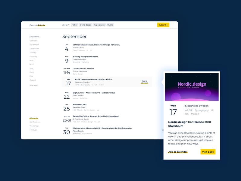 Auto-magical content! ✨ developement card ui ux white monochrome monocolor events landing desktop clean preview list calendar minimal hover web