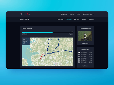 Mission Control Center 🚀 app material flat design drones drone flight progress overview page software web map desktop minimal ux ui clean dark dashboard